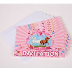 "6 Invitations avec Enveloppes - Collection ""Mon Cheval"""