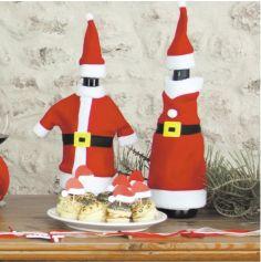 Set de 2 Costumes Père et Mère Noël pour Bouteilles de Vin