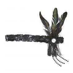 Bandeau Charleston Sequins et Plumes - Noir