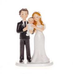 Figurine couple de mariés avec bébé