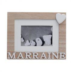 "Cadre photo ""Marraine"" Blanc et beige"