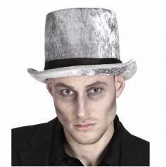 Chapeau en velours argenté