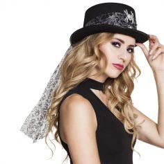 Chapeau adulte noir avec ruban motif baroque