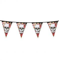 Guirlande en Plastique - 6 mètres - Crâne et Fleurs