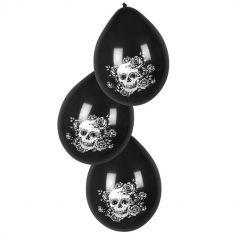 Sachet de 6 Ballons en Latex - Crâne et Fleurs