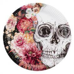 Sachet de 6 Assiettes en Carton - Crâne et Fleurs