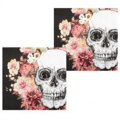 Sachet de 12 Serviettes en Papier - Crâne et Fleurs