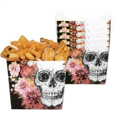 Sachet de 6 Coupelles en Carton - Crâne et Fleurs