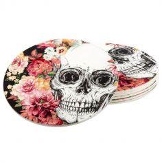Sachet de 6 Sous-Bocks en Carton - Crâne et Fleurs