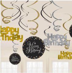 "Suspension spirale ""Happy Birthday"" - Doré"