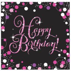 """16 Serviettes """"Happy Birthday"""" Rose et Noir"""