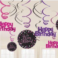 """Suspension spirale """"Happy Birthday"""" - Rose"""