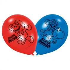6 Ballons Super Mario - Rouge et Bleu