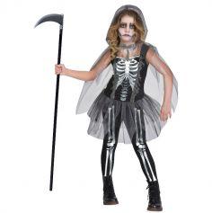 Déguisement Fille – Squelette Faucheuse - Taille au Choix