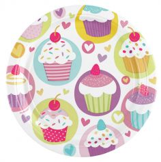 8 Assiettes Cartonnées 18 cm - Cupcake