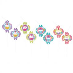 Lot de 8 pailles flexibles - Cupcake