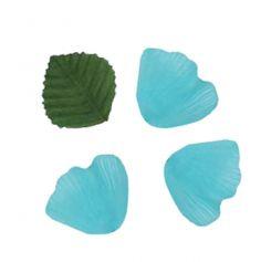 Pétales en Tissu avec Feuilles Turquoise
