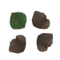 Pétales en Tissu avec Feuilles Chocolat