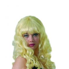 perruque boucles blonde