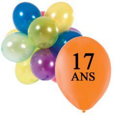 10 Ballons de Baudruche Anniversaire 17 ans