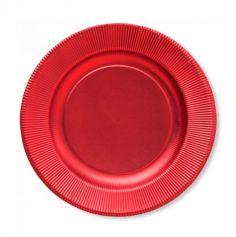 8 Assiettes à Rouge Satiné 21 cm |JOURDEFETE.COM