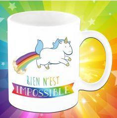 "Mug Licorne - ""Rien n'est impossible"""