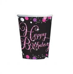"""8 Gobelets """"Happy Birthday"""" - Rose / Noir"""