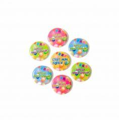"""7 Badges métal """"Pop"""" Joyeux Anniversaire"""""""