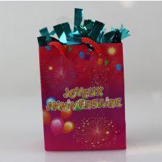 "Poids à Ballon ""Joyeux Anniversaire"" Rose Fuchsia - Turquoise"
