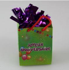 """Poids à Ballon """"Joyeux Anniversaire"""" Vert - Violet"""