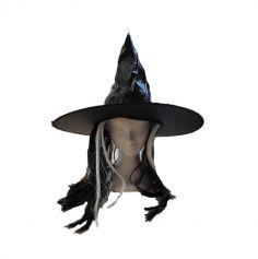 chapeau sorciere adulte avec cheveux blancs et noirs | jourdefete.com