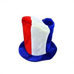 chapeau en mousse haut de forme tricolore france | jourdefete.com