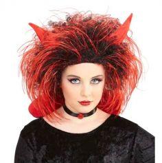 perruque rouge et noire de diable pour enfant avec cornes | jourdefete.com