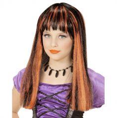 perruque enfant sorciere noire et orange | jourdefete.com