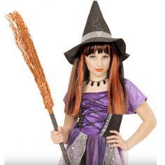 Perruque de sorcière pour enfant avec mèches oranges