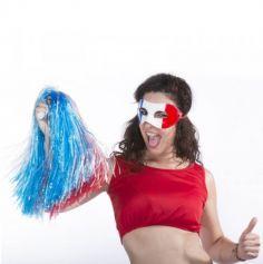 Pompon raphia nylon tricolore - Bleu, Blanc, Rouge