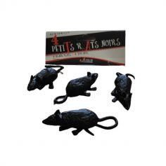 4 petits rats noirs en plastique | jourdefete.com