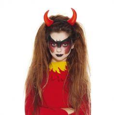 serre-tete enfant cornes de diable rouges plastique halloween| jourdefete.com