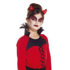 serre-tete enfant cornes de diable rouges tissu brillant halloween| jourdefete.com