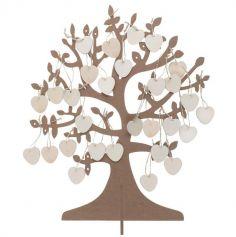 Arbre à vœux et 50 cœurs en bois - 40 cm
