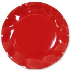 Grandes Assiettes Vagues Rondes en Carton Rouge