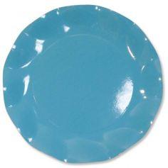 Grandes Assiettes Vagues Rondes en Carton Turquoise