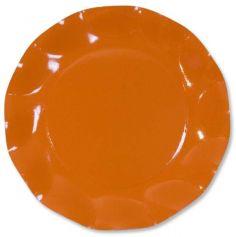 Petites Assiettes Vagues Rondes en Carton Orange