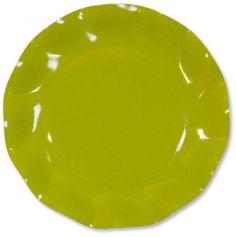 Grandes Assiettes Vagues Rondes en Carton Vert Anis