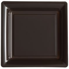 12 Assiettes Cocktail Carrée en Plastique - Chocolat