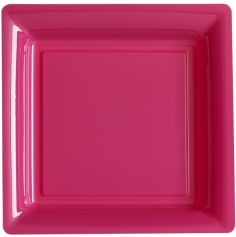 12 Assiettes Cocktail Carrée en Plastique - Fuchsia