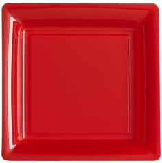 12 Assiettes Cocktail Carrée en Plastique - Rouge