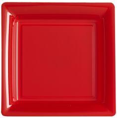 12 Assiettes Carrées en Plastique - Rouge