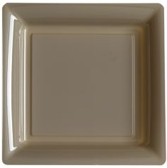12 Assiettes Cocktail Carrée en Plastique - Taupe