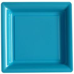 12 Assiettes Carrées en Plastique - Turquoise